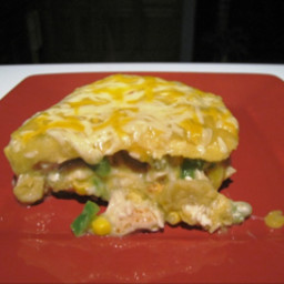 Enchilada Casserole with Green Chile Sauce