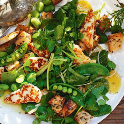 Green panzanella with haloumi