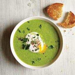 Green Pea and Asparagus Soup with Poached Eggs and Toast