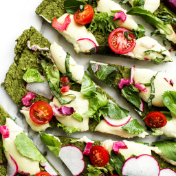 Green Split Pea and Spinach Pizza Crust | Vegan and Gluten-Free