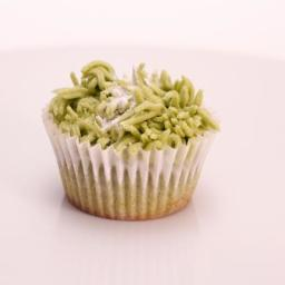 Green Tea Cupcakes Topped with Green Tea Buttercream Frosting