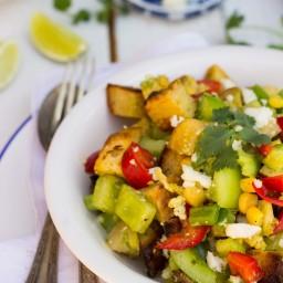Green Tomato Southwestern Panzanella Salad with Cilantro Lime Dressing {gf}