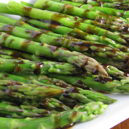 Grilled Asparagus with Roasted Garlic Vinaigrette.