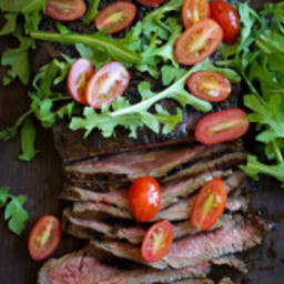 Grilled Balsamic Steak with Tomatoes and Arugula