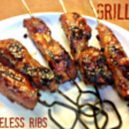 Grilled Boneless Country Style Pork Ribs on Skewers
