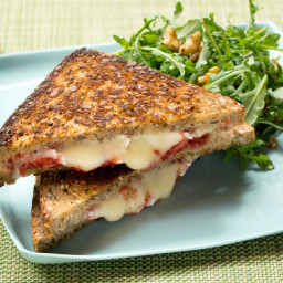 Grilled Brie Cheese & Strawberry Jam Sandwiches with Arugula & Waln