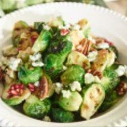 Grilled Brussels Sprout Salad with Pecans, Pomegranates and Blue Cheese