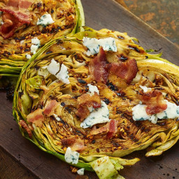 Grilled Cabbage Steaks with Bacon & Blue Cheese