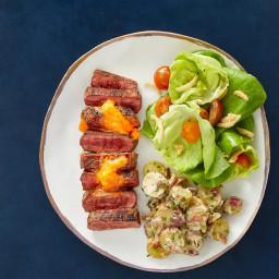 Grilled Cajun Flank Steaks & Potato Salad with Butter Lettuce & Cri