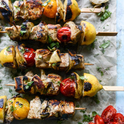 Grilled Chicken, Burst Tomato and Artichoke Skewers with Goat Cheese Dip