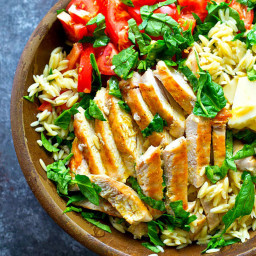 Grilled Chicken Caprese Orzo Salad