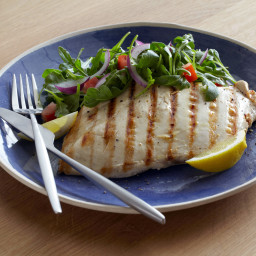 Grilled Chicken Paillard with Lemon and Black Pepper and Arugula-Tomato Sal