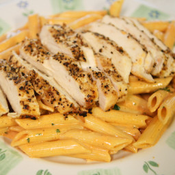 Grilled Chicken Pasta in a Tomato Cream Sauce