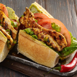 Grilled Chicken Po Boy Sandwich with Spicy Creole Mustard Sauce