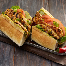 Grilled Chicken Po Boy Sandwich with Spicy Mustard Sauce