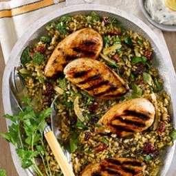 Grilled Chicken Salad with Freekeh, Preserved Lemon and Dried Cherries