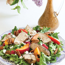 Grilled Chicken Salad with Grilled Peach Vinaigrette