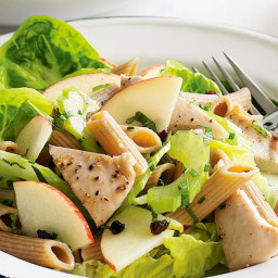 Grilled chicken with apple and celery pasta salad