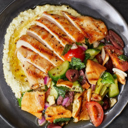 Grilled Chicken with Banana Pepper Dip and Fattoush