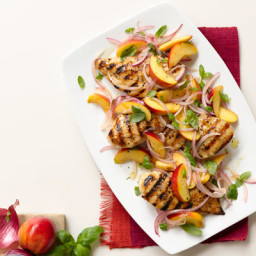 Grilled Chicken with Nectarine, Red Onion, and Basil Relish