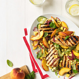 Grilled Chicken with Nectarines, Cucumber, and Corn