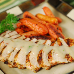Grilled Chicken with Red Chile Veloute Sauce