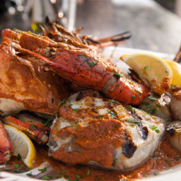 Grilled Cioppino with Fire-Roasted Tomato and Vegetable Puree