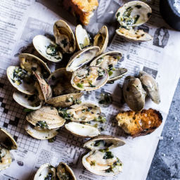 Grilled Clams with Charred Jalapeño Basil Butter.