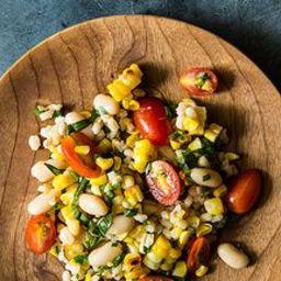 Grilled Corn and Barley Salad with Tomato Vinaigrette