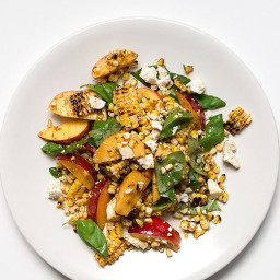Grilled Corn and Nectarine Salad with Toasted Spice Vinaigrette