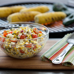 Grilled Corn Salad with Poblano Peppers