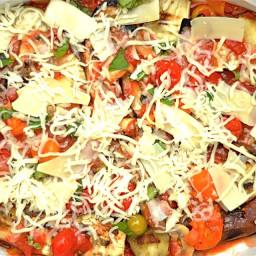 Grilled Eggplant Parmesan with Garden Vegetables