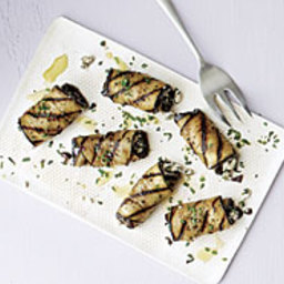 Grilled Eggplant Rolls with Feta and Olives