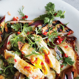 Grilled Eggplant with Fresh Hot Sauce and Crispy Eggs