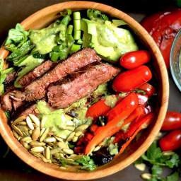 Grilled Fajita Steak Salad with Avocado Cilantro Dressing