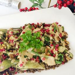 Grilled Fennel, Walnut, Lentil and Pomegranate Salad