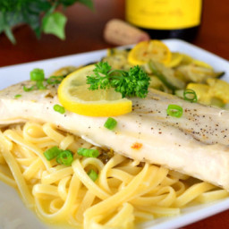 Grilled Fish With Garlic, White Wine and Butter Sauce