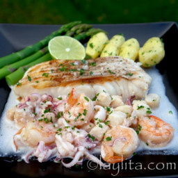 Grilled fish with seafood sauce