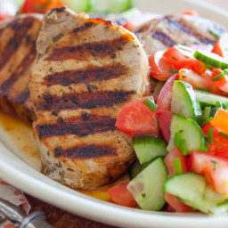 Grilled Greek-Style Pork Chops with Tomato-Cucumber Salad