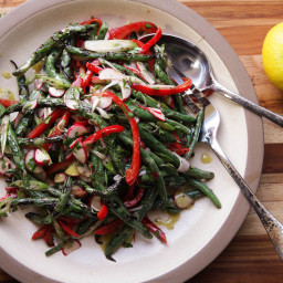 Grilled Green Bean Salad With Red Peppers and Radishes Recipe
