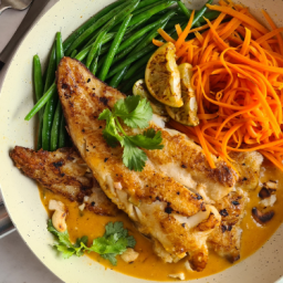 Grilled hake with Thai red curry sauce