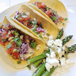 Grilled Halibut Fish Tacos with Cabbage Slaw and Pico de Gallo