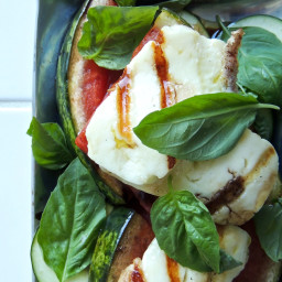 Grilled Halloumi and Watermelon with Basil