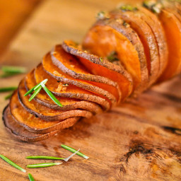 Grilled Hasselback Sweet Potatoes with Rosemary and Garlic