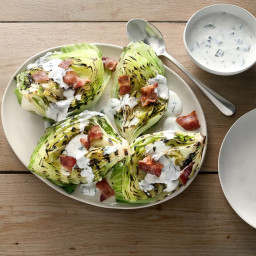 Grilled Iceberg Wedges with Buttermilk-Basil Dressing