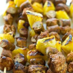Grilled Jerk Chicken Pineapple Sausage Kabobs