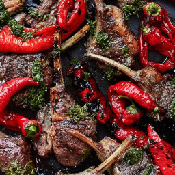 Grilled Lamb Chops and Peppers