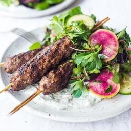 Grilled Lamb Kebabs with herb Salad and Yogurt Sauce