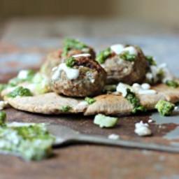 Grilled Lamb Meatball Gyros with Mint Pesto & Coconut Milk Tzatziki