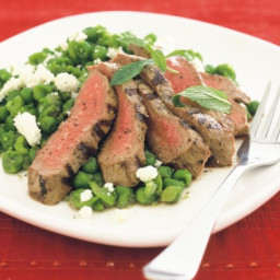 Grilled lamb with crushed minted peas